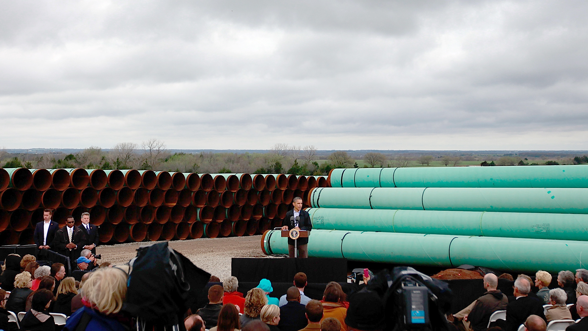 President Obama Speaks At Southern Site Of The Keystone Oil Pipeline